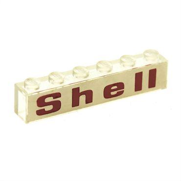 1 x Lego System Stein transparent weiss 1x6 bedruckt Shell rot auf Hintergrund weiss  Set  995 3067pb03
