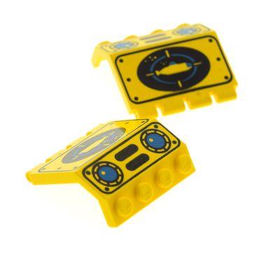 2 x Lego System Tür gelb 2x4x3 1/3 U-Boot Klappe bedruckt Unter Wasser Welt Taucher Boot Visier Aquazone Submarine 6175 6195 1822 2582px2