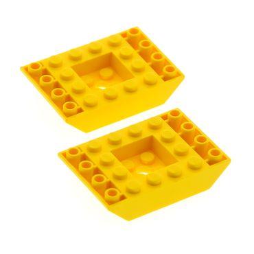 2 x Lego System negativ Dach Stein gelb 6x4 Schrägstein 45° Ziegel Rumpf Unterteil 4117059 30183