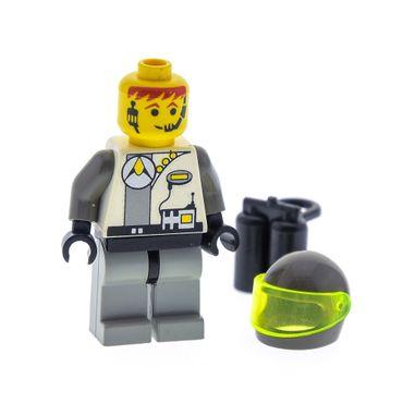 1 x Lego System Figur Astronaut Space Torso weiss bedruckt Space Exploriens Logo Motorrad Helm Visier Lufttank schwarz 6958 6982 6899 1737 6938  3838 973pb0004c01 sp008