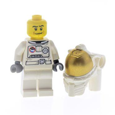 1 x Lego System Figur Astronaut City Mann Torso weiss bedruckt Raumanzug Helm mit Atmungsgerät und Visier gold 60024 30016 87754 973pb0861c01 cty384