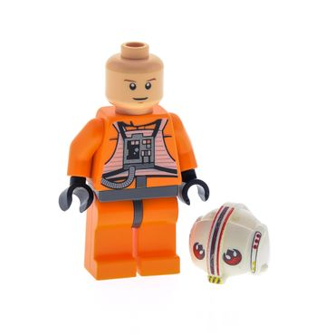 1 x Lego System Figur Star Wars Luke Skywalker X Wing Pilot Torso orange Rebellen Helm weiss bedruckt Episode 4/5/6 8129 9493 x164pb04 973pb0624c01 sw295