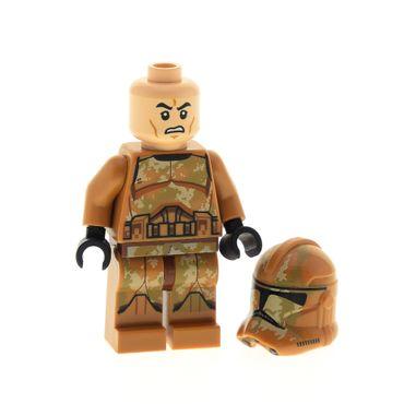 1 x Lego System Figur Star Wars Expanded Universe Geonosis Clone Trooper 2 dunkel hautfarben beige Helm Tarnmuster 75089 11217pb12 973pb1831c01 sw606