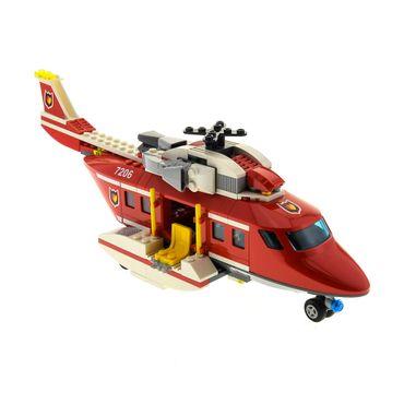 1 x Lego System Set Modell Nr. 7206 Town City Fire Helicopter Hubschrauber Feuerwehr rot incomplete unvollständig