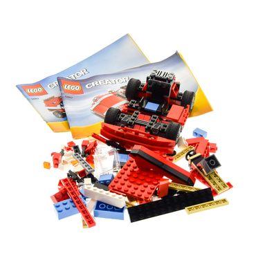 1 x Lego System Teile Set für Creator Modell Traffic 5867 Super Speedster (3in1) Sportwagen Auto rot mit Bauanleitung incomplete unvollständig