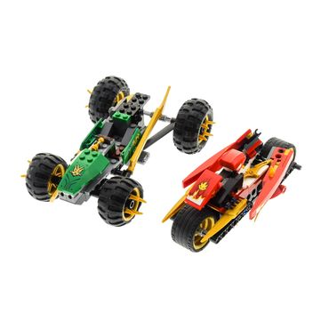 1 x Lego System Teile Set für Modell Ninjago Neustart 70755 Tournament of Elements Jungle Raider Buggy Auto 9441 Kai's Blade Cycle Motorrad rot unvollständig