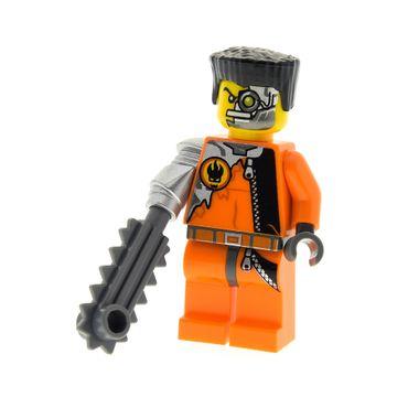 1 x Lego System Figur Mann Saw Fist  Handlanger Torso orange Logo mechanischer Arm Säge Haare flach schwarz 8631 973pb0487c01 agt005