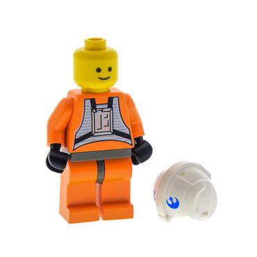 1 x Lego System Figur Star Wars Dak Ralter Pilot Torso orange Hüfte alt-dunkel grau Rebellen Helm weiss bedruckt 7130  x164px3 973ps1c01 sw012