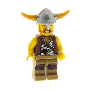 1 x Lego System Figur Sammel Figuren Serie 4 Wikinger Mann Torso reddish rot braun mit Helm für  col04 973pb0852c01  col054