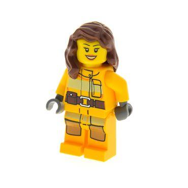 1 x Lego System Figur Frau Feuerwehr City Torso hell orange Feuer Logo Haare lang braun offenes Lächeln 4428 973pb1011c01  cty337