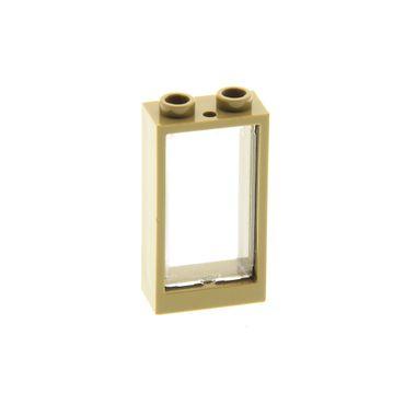 1 x Lego System Fenster Rahmen dunkel beige tan 1x2x3 Scheibe transparent 1x2x3 Set 10253 31069 6151557 4536998 60593