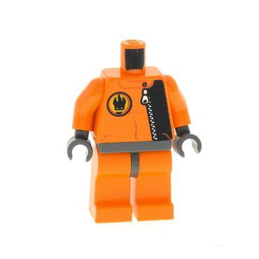 1 x Lego brick  Minifigs Agents Break Jaw Orange Torso Agents Villain with Zipper & Villain Logo on Back Pattern Orange Legs  for Figur agt003  8632 8633 8636 973pb0486c01