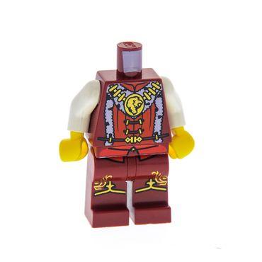 1 x Lego System Figur Mann Castle Kingdoms Prinz Torso dunkel rot Fell Kragen Löwen Kopf Kette gold Beine dunkel rot Muster gold für Figur cas470 970c00pb063 973pb0697c01