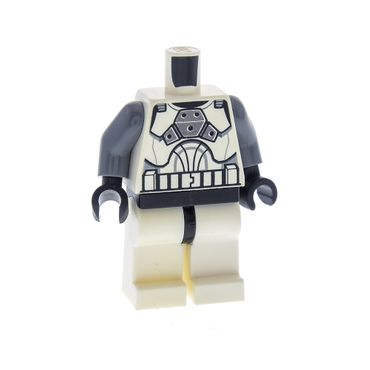 1 x Lego brick Minifigs Star Wars White Torso SW Armor Clone Trooper Clone Gunner Pattern Dark Bluish Gray Arms White Legs for Figur sw221 Set 8014 8039 970c01 973pb0541c01