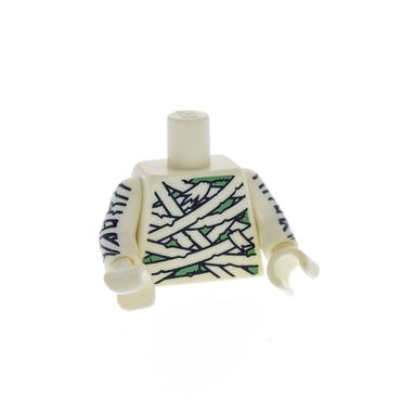 1 x Lego brick Minifigs Collectible Minifigures Series 3 Mummy - White Torso Mummy Wrapping Bandages over Sand Green Pattern White Arms Printed White Hands for col045 850458 973pb0793c01