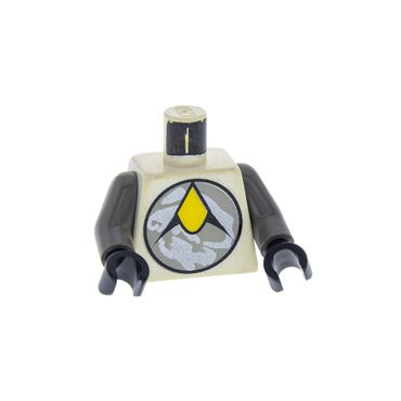 1 x Lego brick Minifigs Space Exploriens Chief White Torso Space Exploriens Logo Pattern Dark Gray Arms Black Hands for Figur sp009 Set 6982 6958 973pb0003c01