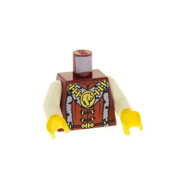 1 x Lego System Figur Torso Oberkörper Mann Castle Kingdoms Prinz Torso dunkel rot Fell Kragen Löwen Kopf Kette gold Arme weiß Hände gelb für Figur cas470 cas441 Set 7946 973pb0697c01