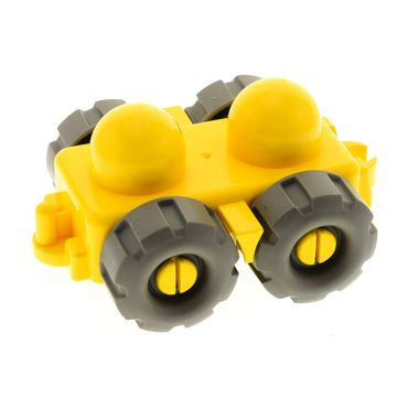 1 x Lego brick Yellow Primo Vehicle Wagon with Tow Hitches, Mud Flaps, and Treaded Tires Set 3699 3700 45205