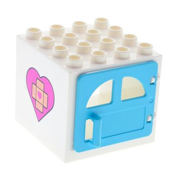 1 x Lego brick Doc McStuffins white Duplo Building Door Frame 4 x 4 x 3 - Thin Top with Bandage Cross and Heart on Both Sides Pattern medium azure Door Window with Two Rounded Panes and Handle Set 10605 18816 18857pb03