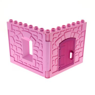 1 x Lego brick Bright Pink Duplo Building Wall 1 x 8 x 6 with Window Opening Castle Bright Pink Duplo Building Wall 1 x 8 x 6 with Door Opening Magenta Door 1 x 4 x 4 with Rounded Top and Handle Set 4820 51288 51695 51697