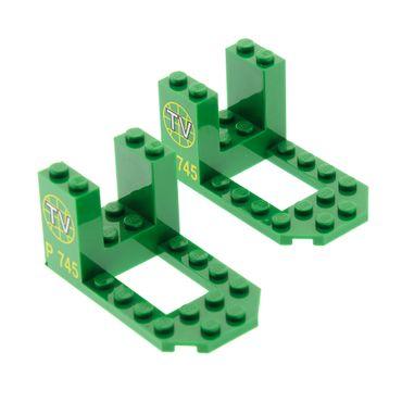 2 x Lego System Fahrzeug Cockpit grün 7x4x3 bedruckt TV Logo und P 745 Set 6425 30250px2