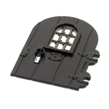 1 x Lego Brick Black Door 1 x 4 x 6 Round Top with Window and Keyhole, Nonreinforced Edge Dark Gray Window 1 x 2 x 2 2/3 Pane Twisted Bar with Rounded Top Set 7419 30045 40241