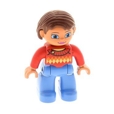 1 x Lego brick Duplo Figure Lego Ville, Female, Medium Blue Legs, Red Sweater with Diamond Pattern, Reddish Brown Hair, Blue Eyes 10810 47394pb180