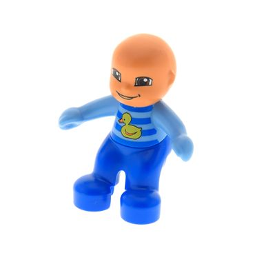 1 x Lego brick Duplo Figure Lego Ville Baby Blue and Medium Blue Romper with Stripes and Yellow Duck Pattern 5655 5695  85363pb002