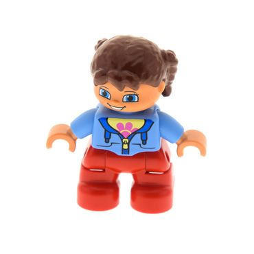 1 x Lego brick Duplo Figure Lego Ville Child Girl Red Legs Medium Blue Jacket over Shirt with Flower Reddish Brown Pigtails 10584 47205pb030
