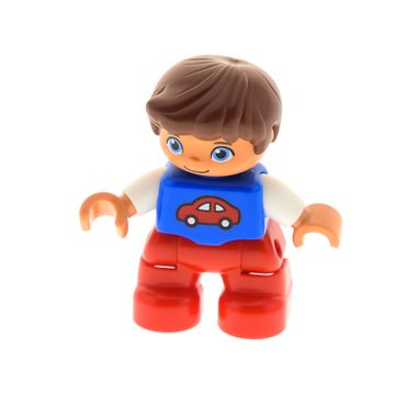 1 x Lego brick Duplo Figure Lego Ville Child Boy Red Legs Blue Top with Red Car Pattern Reddish Brown Hair 10847 10864  47205pb031