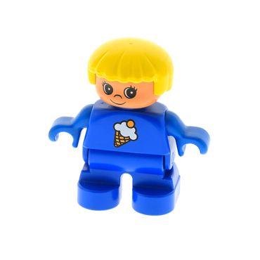 1 x Lego Duplo Figur Kind Mädchen Type 2 Hose blau  Pullover blau mit Eis Creme Haare gelb 9167 6453pb047