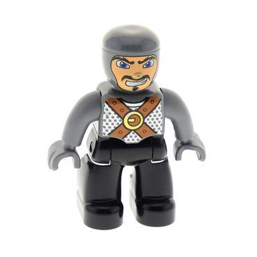 1 x Lego brick Duplo Figure Lego Ville, Male Castle, Black Legs, Dark Bluish Gray Chest with Brown Belts, Dark Bluish Gray Arms, Dark Bluish Gray Hands 4785 7846  47394pb054