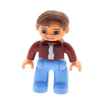 1 x Lego Duplo Figur Mann Vater großer Bruder Hose medium hell blau Jacke dunkel rot Haare reddish braun Augen braun Lächeln 47394pb019
