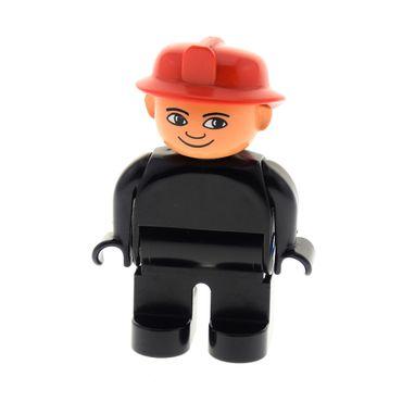 1 x Lego Duplo Figur Mann Feuerwehrmann Hose Jacke ohne Knöpfe schwarz Helm rot mit weiss in den Augen Feuerwehr 4555pb162