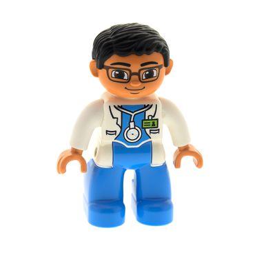 1 x Lego Duplo Figur Mann Arzt Doktor Hose hell blau Jacke Labor Kittel weiss mit ID Ausweis Stethoskop Haare schwarz Augen braun Brille  45010 47394pb171