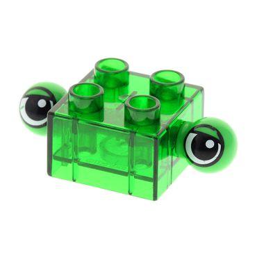 1 x Lego Duplo Tier 2 Augen transparent grün 2x2 seitlich überstehend am Bau Stein Set 3263 40703a
