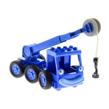 1 x Lego Duplo Bau Fahrzeug Kran Heppo blau für Bob der Baumeister Figur Lofty Haken Arm blau Anker schwarz neue Form LKW Wagen Set 3597 dcranec02