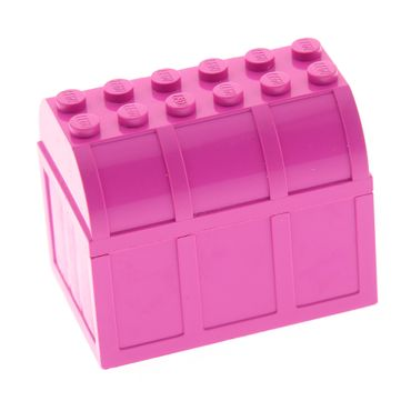 1 x Lego brick Dark Pink Container Trunk Bottom 4 x 6 x 2 1/3 with Dark Pink Container Trunk Lid 4 x 6 x 1 2/3 Treasure Chest Belville Set 5808 5801 x516 4238