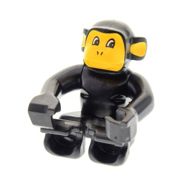 1 x Lego brick Black Duplo Monkey, Earth Orange Face and Ears, Eyes Looking Left 9210 2281px1