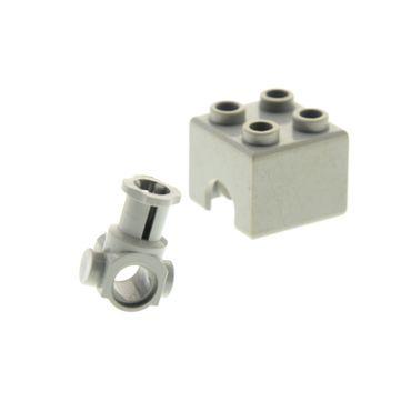 1 x Lego Technic Motor Block Gehäuse alt-hell grau 2x2 mit Technik Achs Verbinder Stein alt-hell grau Set 856 852 8858 8860 3652 3651