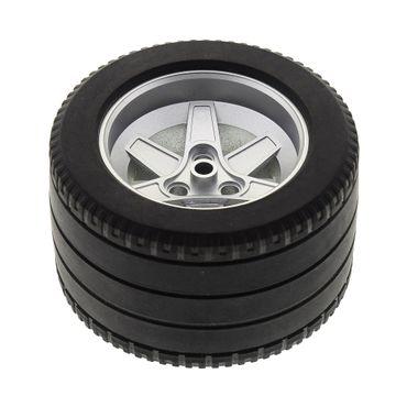 1 x Lego Technic Rad Reifen schwarz Racing Felge metallic silber 62mm D. x 46mm Technik Auto Fahrzeug für 8674 22969c05 4294850 32296 4294868 22969 – Bild 2