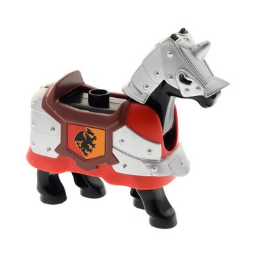 1 x Lego brick black Duplo Horse with One Stud and Moveable Head, Eyes Pattern with Red Duplo Animal Accessory Horse Barding with Dragon Pattern and Flat Silver Animal Accessory Horse Battle Helmet 4252563 51710pb02 horse02c01pb03