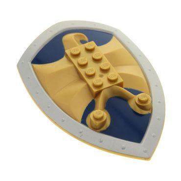 1 x Lego Knights' Kingdom Large Figure Schild perl gold mit Relief Jayko Falke 2x4 dunkel blau silber Technic  für Figur Sir Jayko Set 8792 50655pb01