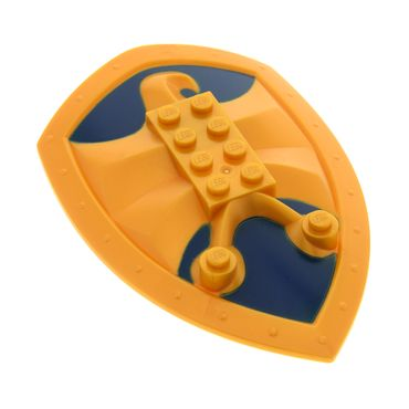 1 x Lego Knights' Kingdom Large Figure Schild Rüstung perl gold mit Relief Jayko Falke 2x4 dunkel blau Technic  für Figur King Jayko Set 8701 50655pb02