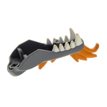1 x Lego Bionicle Drachen Kopf Ninjago Kiefer neu dunkel grau orange Unterteil Set Dragon 2507 2260 4609368 93072pb01