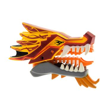 1 x Lego brick bright light orange Dragon Head (Ninjago) Upper Jaw with Dark Red Sections, White Teeth and Red Stripes Pattern / Lower Jaw Set Fire Temple 2507 93072pb01  4630187 93070pb02
