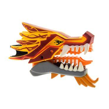 1 x Lego Bionicle Drachen Kopf Ninjago hell orange Muster Flammen dunkel rot  Geschoss Werfer Set Fire Temple 2507  93072pb01 4630187 93070pb02