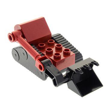 1 x Lego Duplo Bau Fahrzeug Teile für Benny Ketten Bagger schwarz dunkel rot Bob der Baumeister Figur 3293 dbennyc01  52069 40636 52067c01