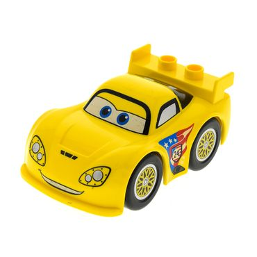 1 x Lego Duplo Fahrzeug Disney Pixar Cars Auto gelb Figur Jeff Gorvette Sport Wagen 6133 6001737 88760c01pb08 98249pb01