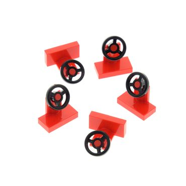 5 x Lego brick red Vehicle Steering Stand 1 x 2 with Black Steering Wheel Set 6539 9354 60080 9552 3829c01